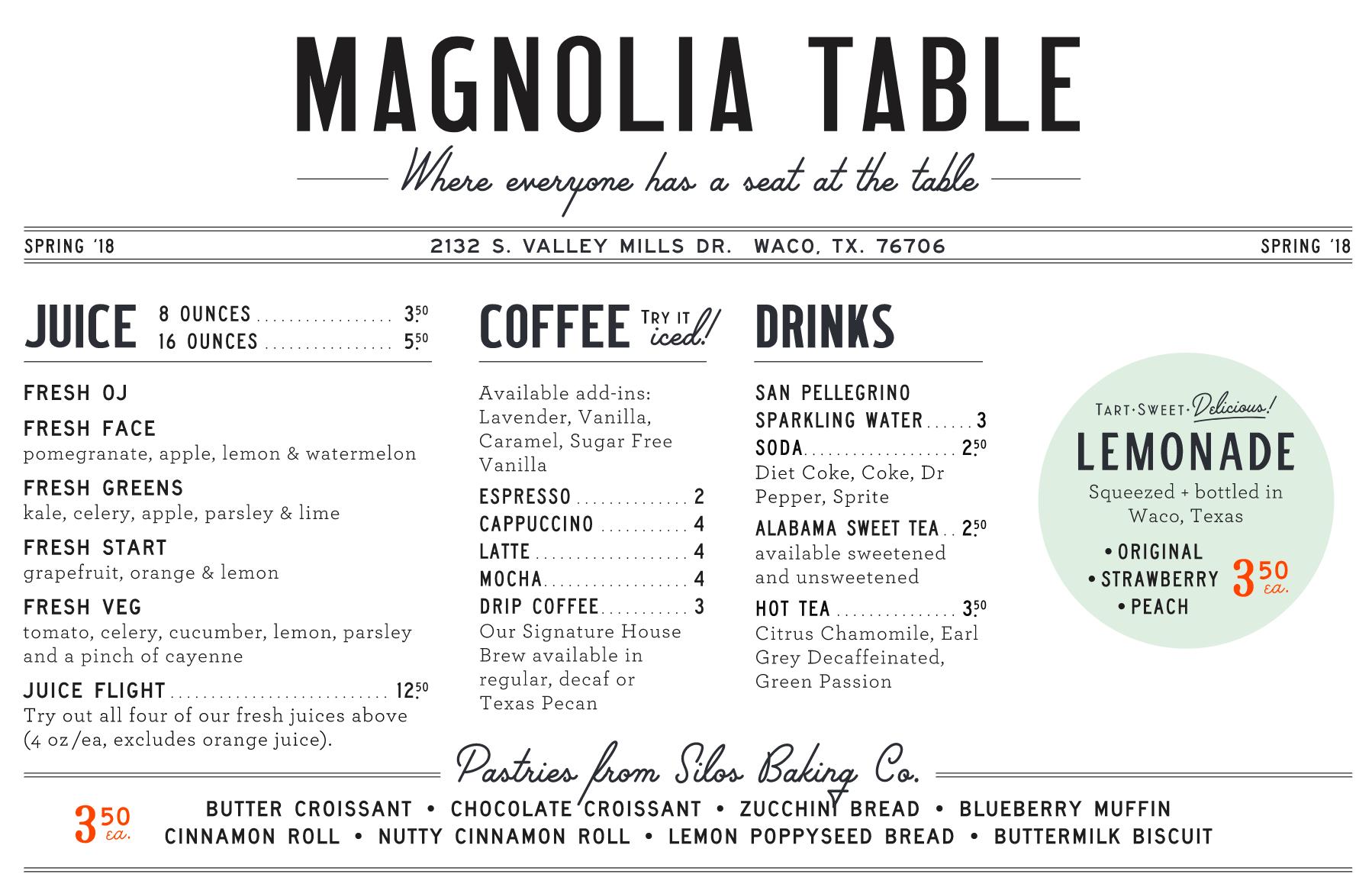Magnolia Table menu