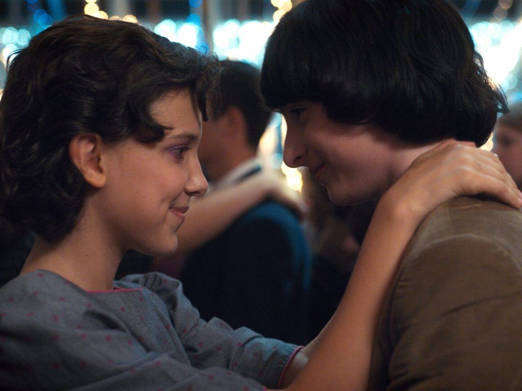Eleven and Mike on Stranger Things
