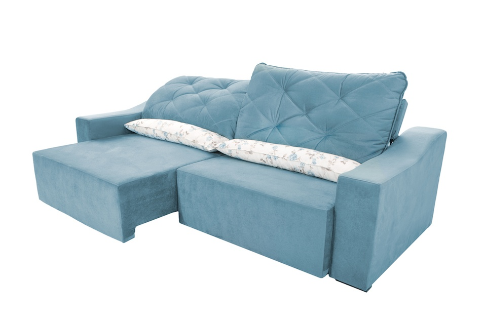 Modern blue suede couch sofa