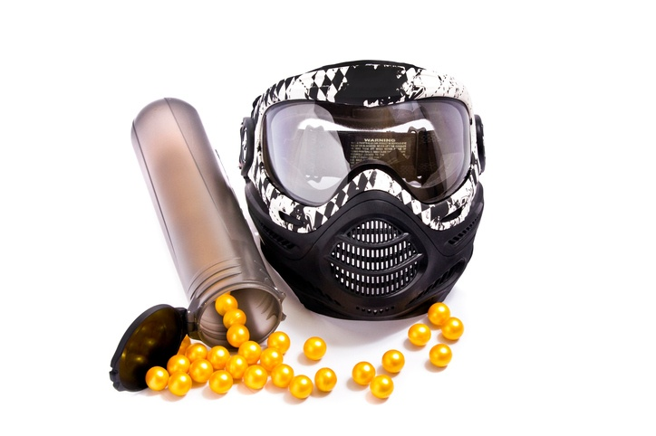 paintballs and mask