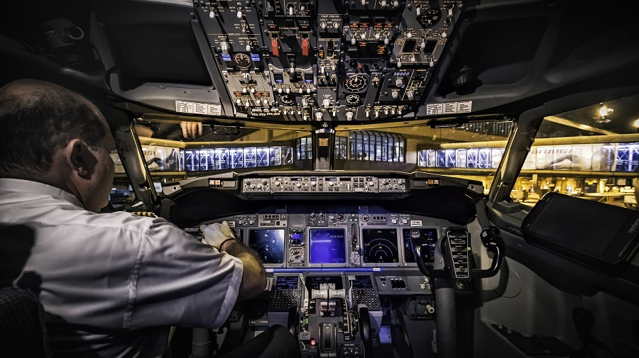 Pilot inside a cockpit