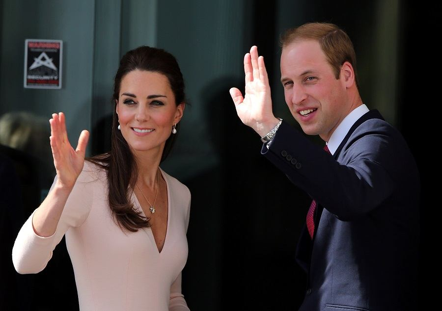 Catherine and Prince William wave to spectators