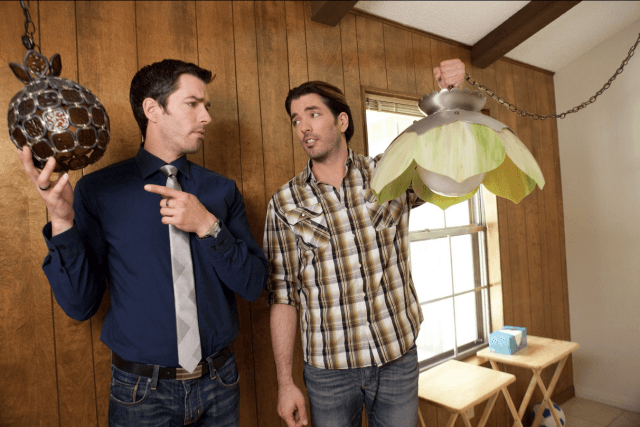Property Brothers with old light fixtures.