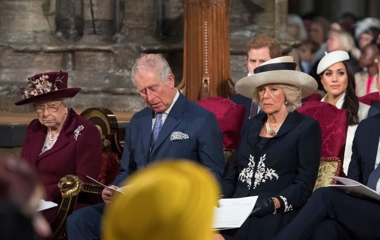 Queen Elizabeth II, Prince Charles, Prince of Wales, Camilla, Duchess of Cornwall, Prince Harry and Meghan Markle attend the Commonwealth Service at Westminster Abbey on March 12, 2018 in London, England.