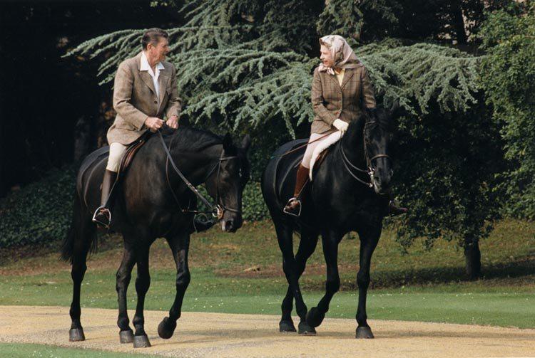 Queen Elizabeth Ronald Reagan ride horses