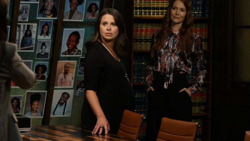 Katie Lowes as Quinn Perkins and Darby Stanchfield as Abby Whelan on Scandal