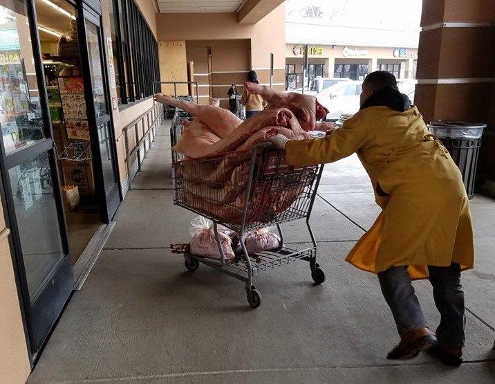 raw meat shopping cart