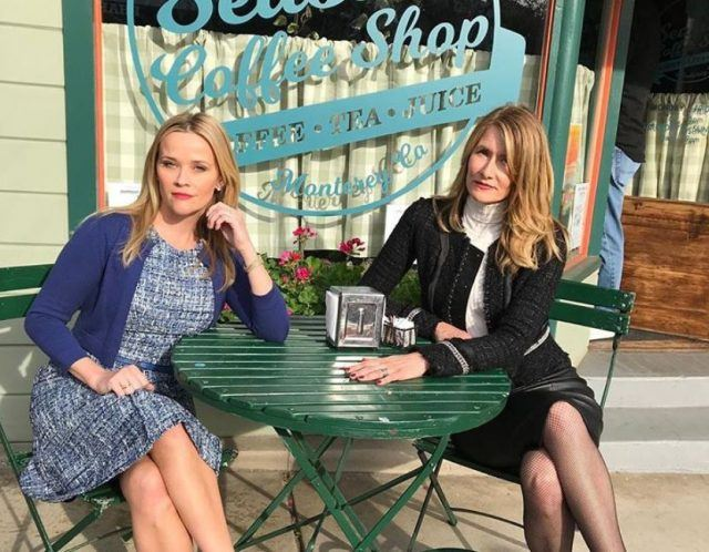 Reese Witherspoon and Laura Dern on the set of Big Little Lies Season 2