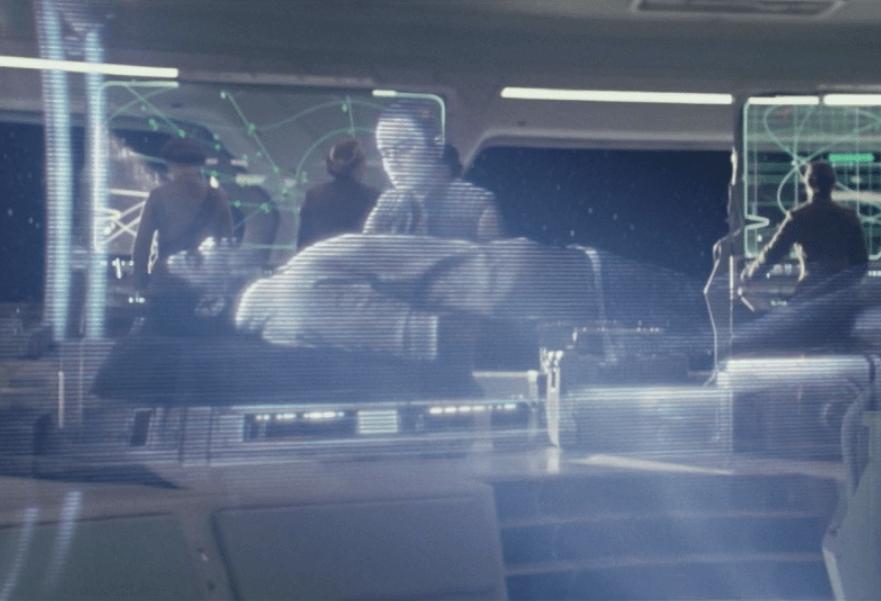 Finn watches a recording in The Last Jedi