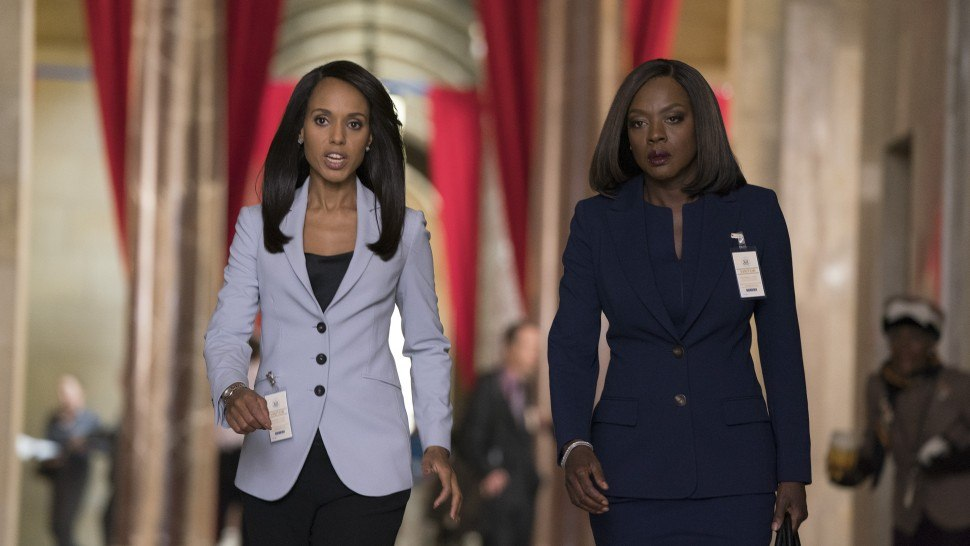 Kerry Washington as Olivia Pope and Viola Davis as Annalise Keating on the Scandal/How to Get Away with Murder crossover
