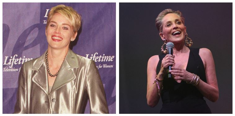 Sharon Stone then and now