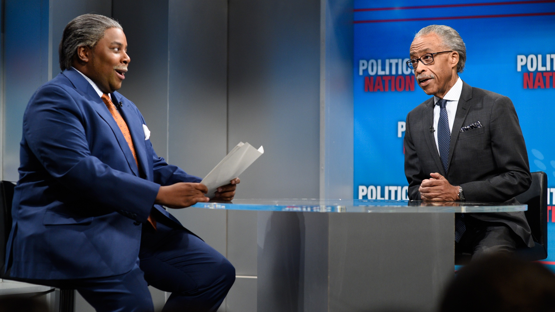 Kenan Thompson and Al Sharpton on Saturday Night Live