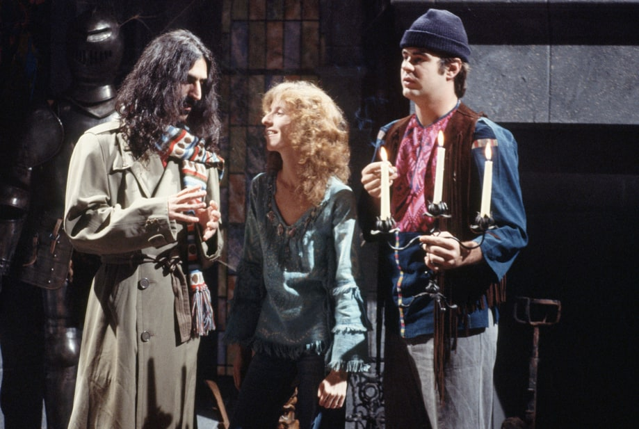 Frank Zappa, Laraine Newman, and Dan Aykroyd on Saturday Night Live