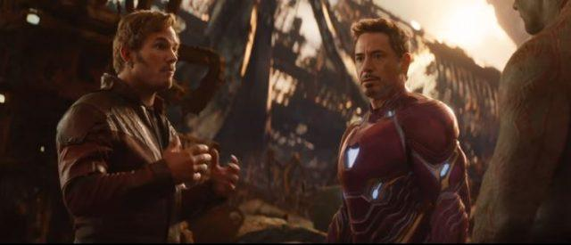 Star-Lord, Iron Man, and Drax in talking together in 'Avengers: Infinity War'.