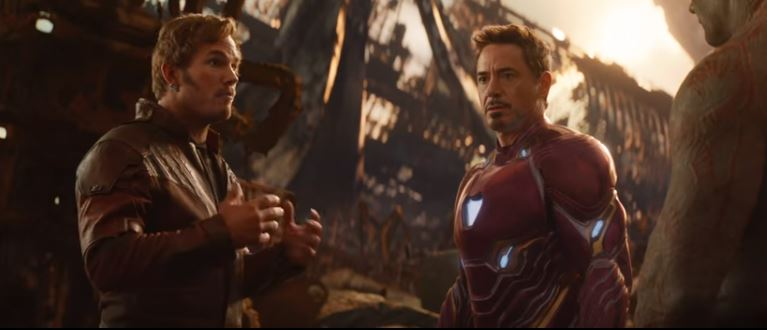 Star-Lord, Iron Man, and Drax in Avengers: Infinity War