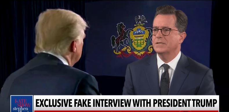 """Stephen Colbert """"interviews"""" Donald Trump"""