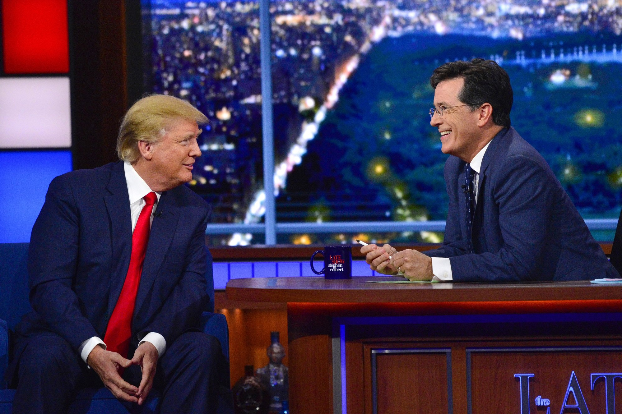 Donald Trump talking to Stephen Colbert