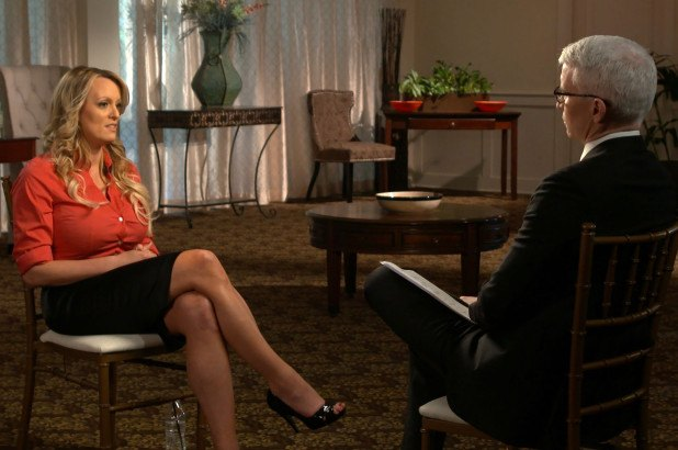 Stormy Daniels and Anderson Cooper on 60 Minutes