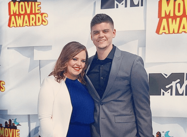 Tyler Baltierra and Catelynn Lowell smiling on a red carpet.