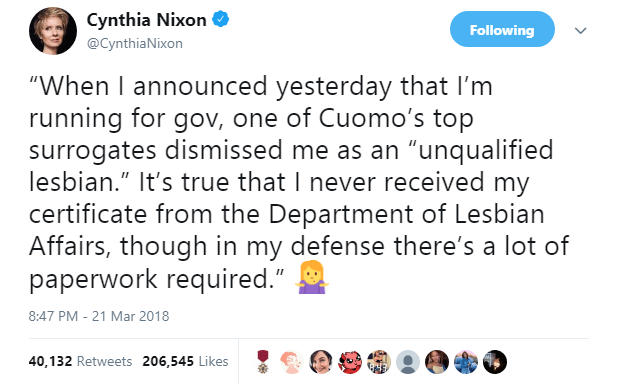 "Cynthia Nixon jabs Cuomo for the ""unqualified lesbian"" line."