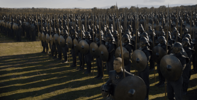 Unsullied soldiers assembled in rows.