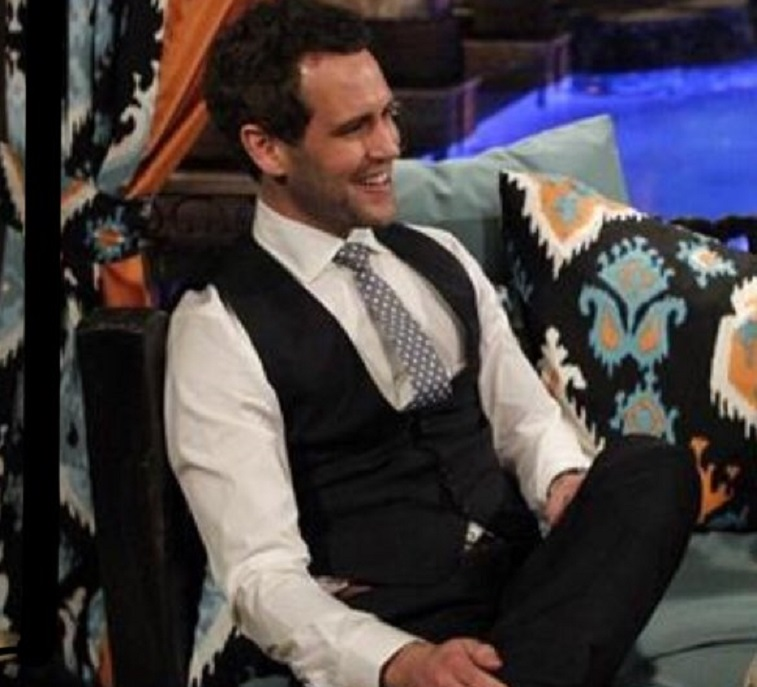 A contestant wearing a vest on The Bachelorette