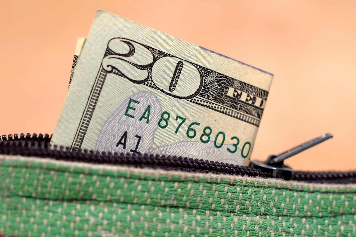 20 dollar bill in wallet