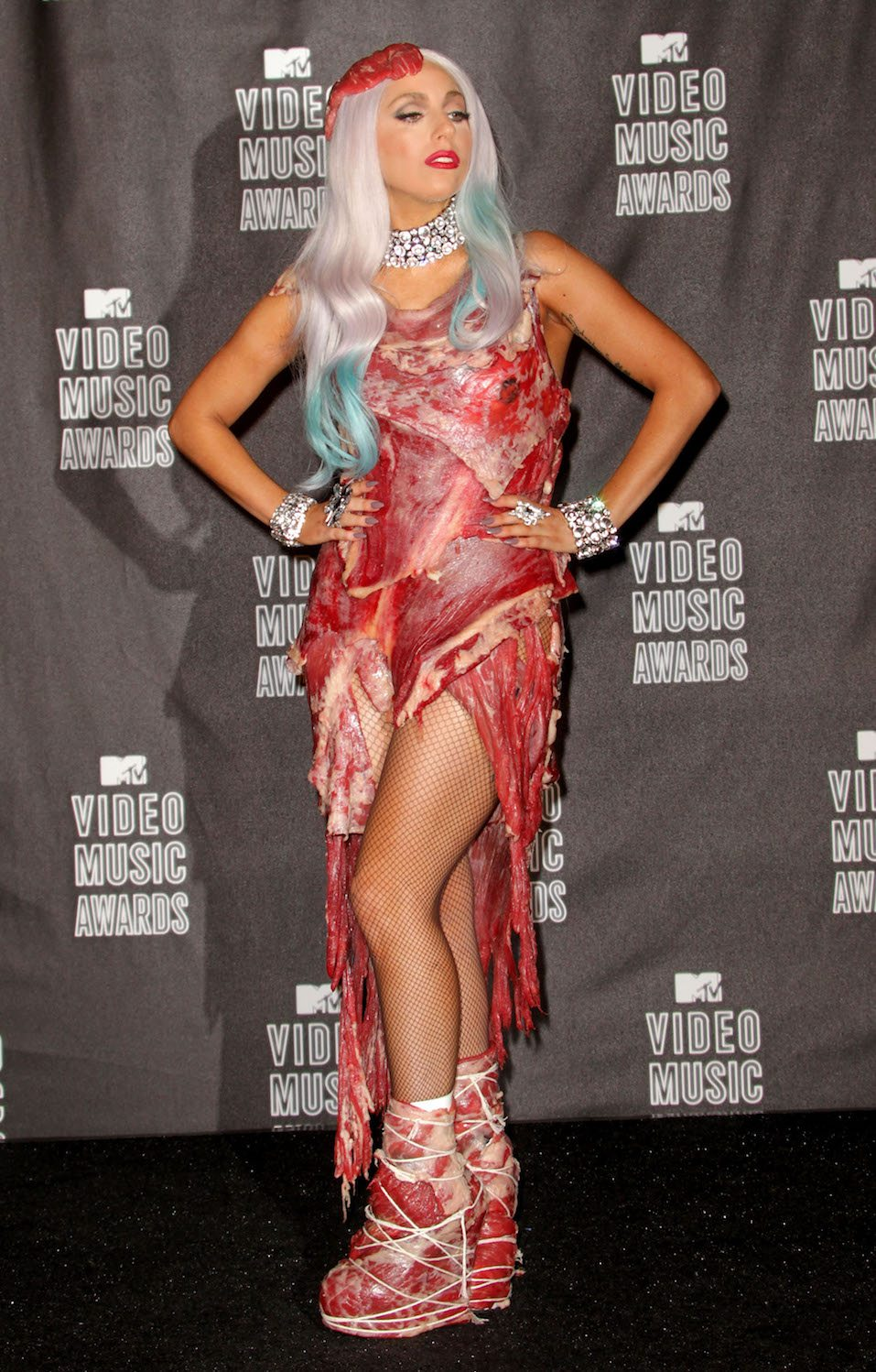 Singer Lady Gaga poses in the press room during the MTV Video Music Awards at NOKIA Theatre L.A. LIVE