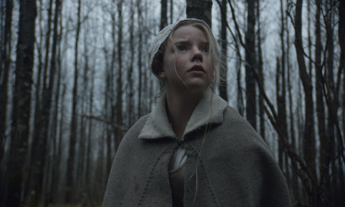 A girl stands in the woods