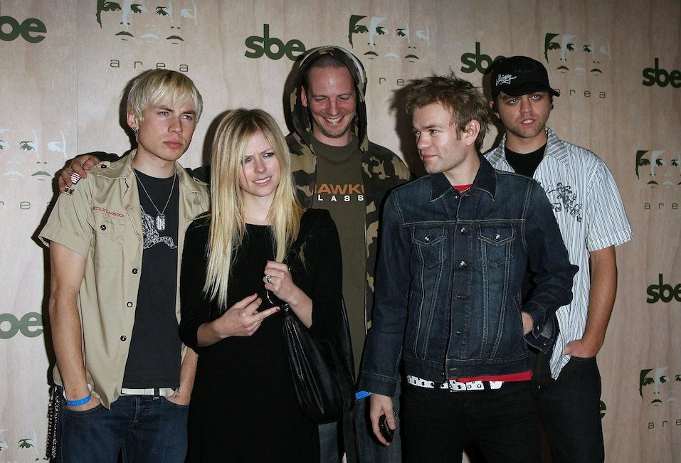 Singers Avril Lavigne and Deryck Whibley arrive at the AREA Nightclub Grand Opening
