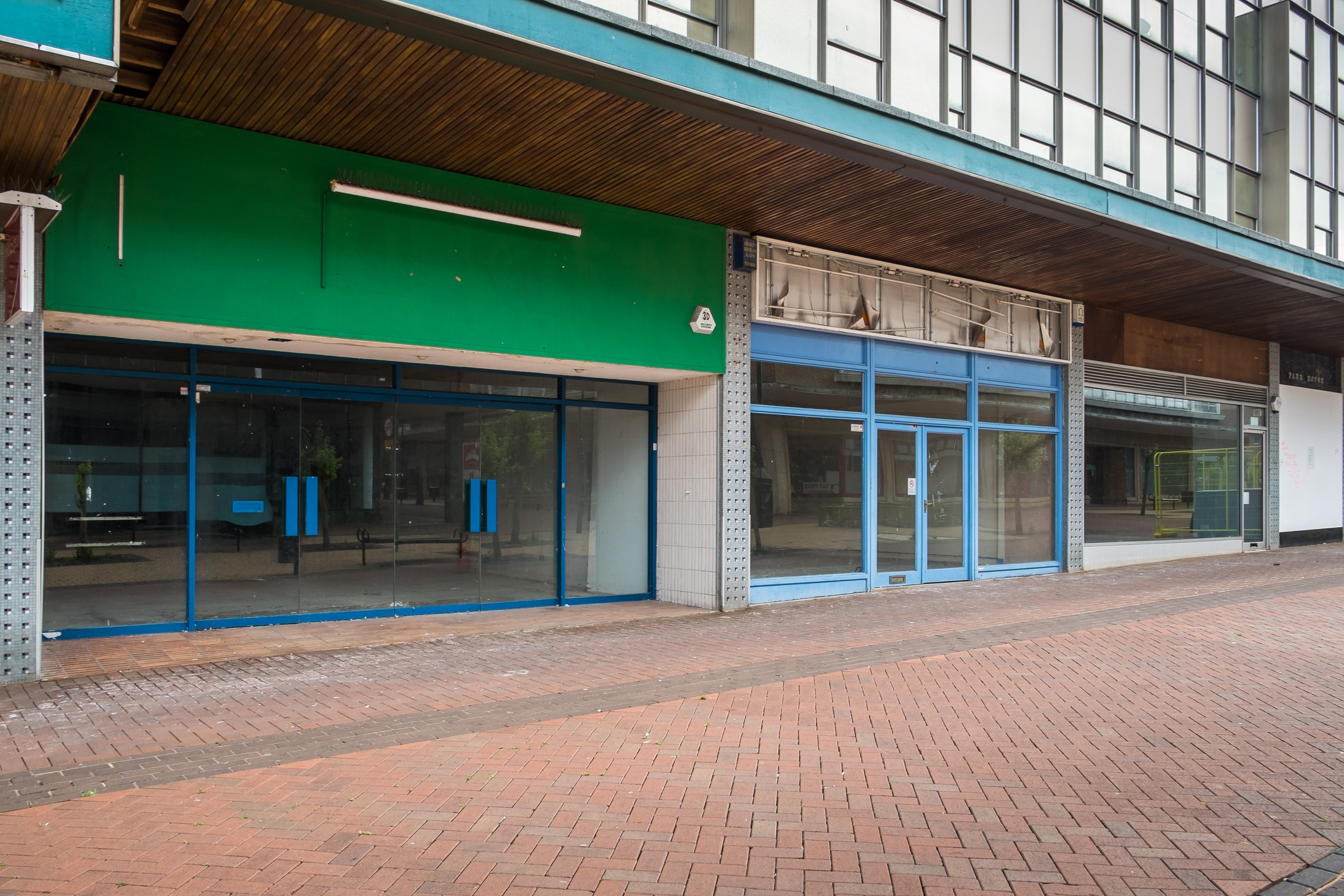 Empty shops in an abandoned high street