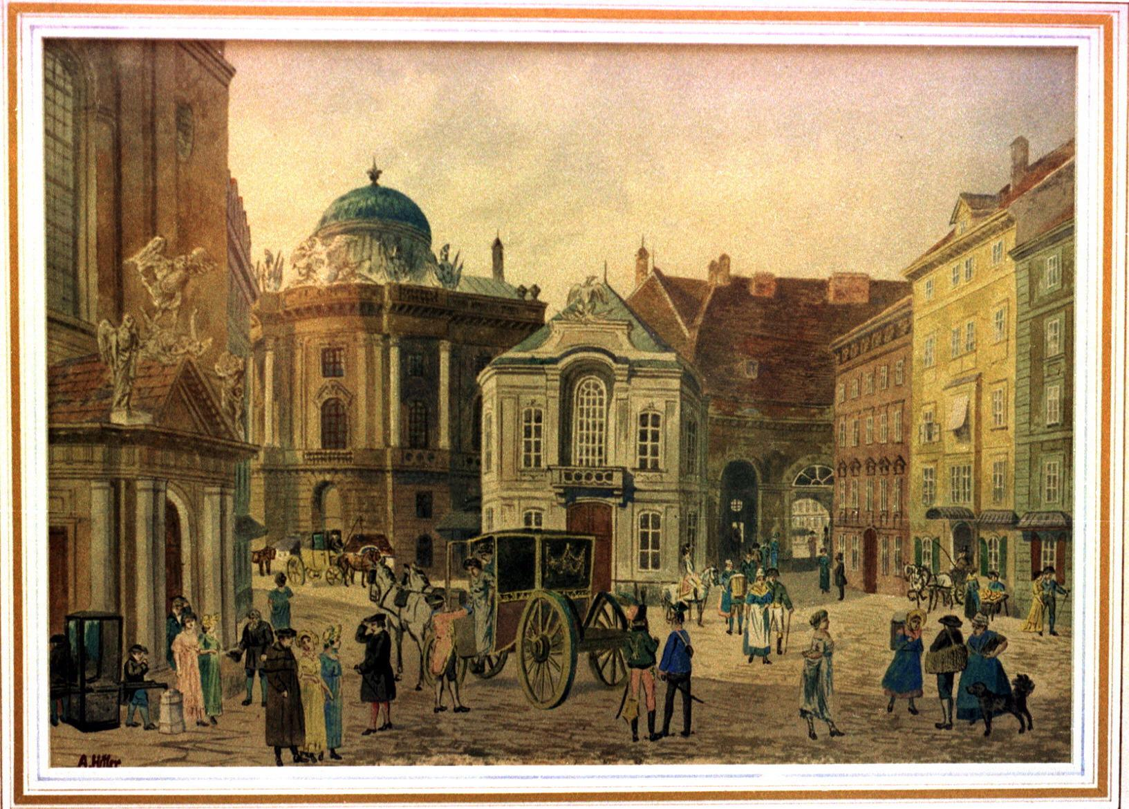 One of the two water-color paintings attributed to Adolf Hitler