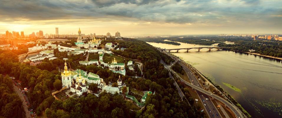 Panoramic view of Kiev Pechersk Lavra at sunset, Ukraine.