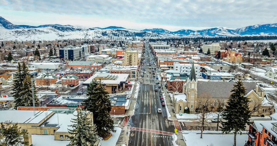 Aerial view of Main Street in Bozeman, Montana.