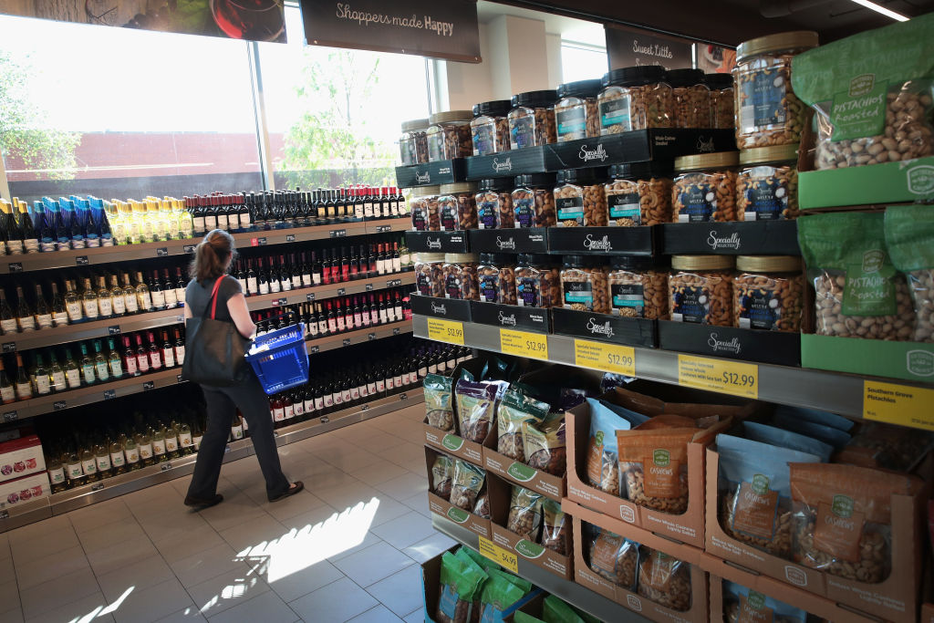 Customers shop at an Aldi grocery store