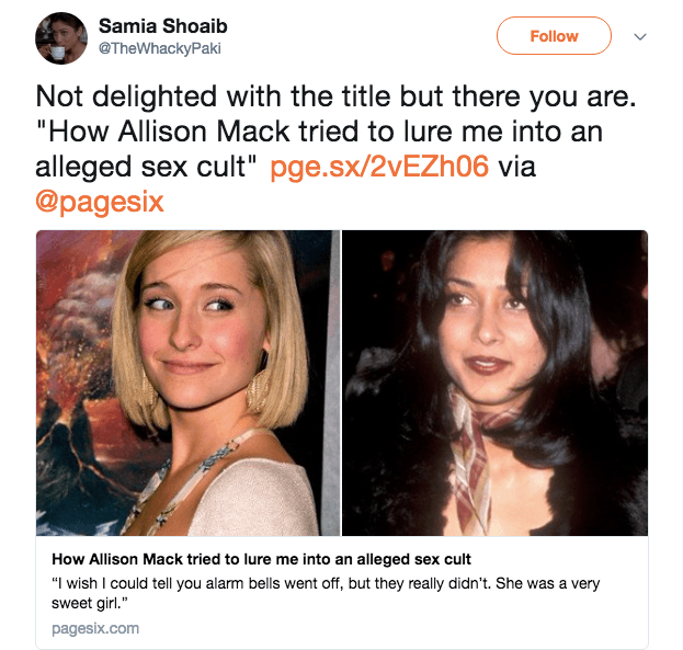 Samia Shoaib's tweet about Allison Mack
