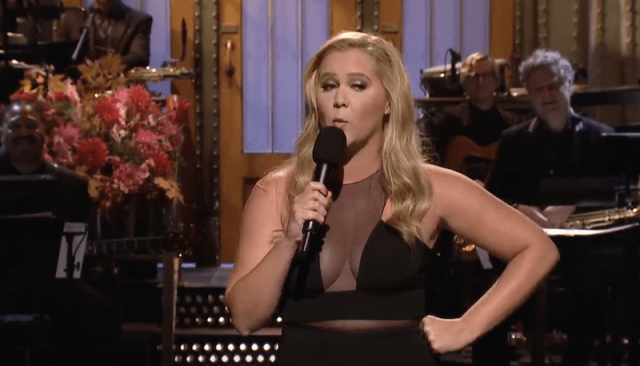 Amy Schumer performing during the opening monologue on 'Saturday Night Live'.