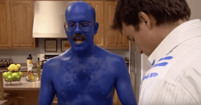 Dr. Tobias Funke covered in blue paint.
