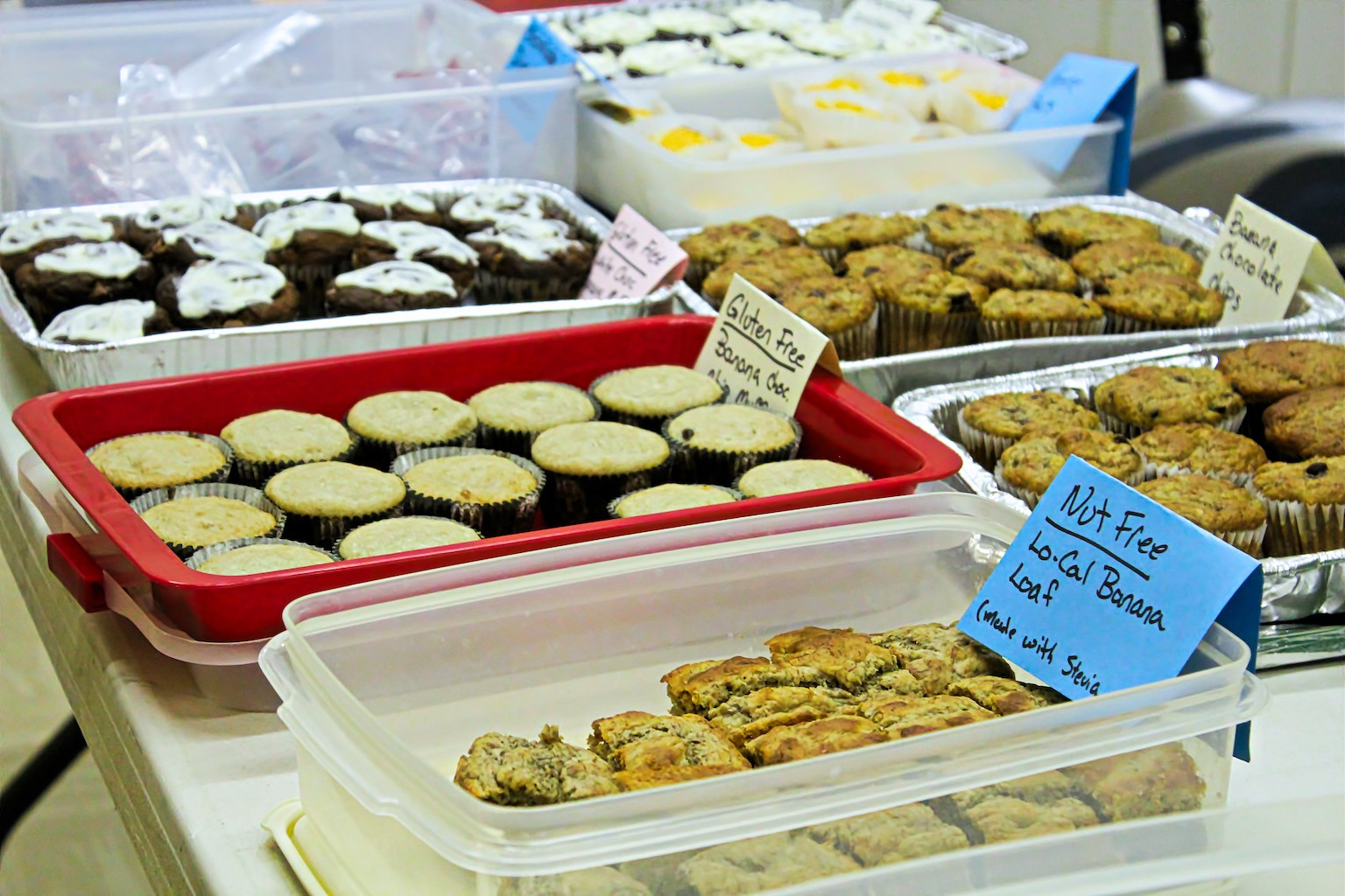 Gluten and nut free items at a bake sale