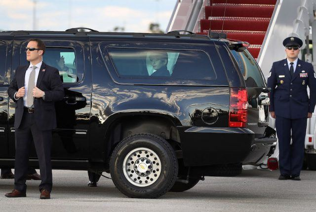 Barron Trump inside a big car.