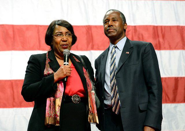 Candy Carson and Republican presidential candidate Ben Carson speak during a campaign rally