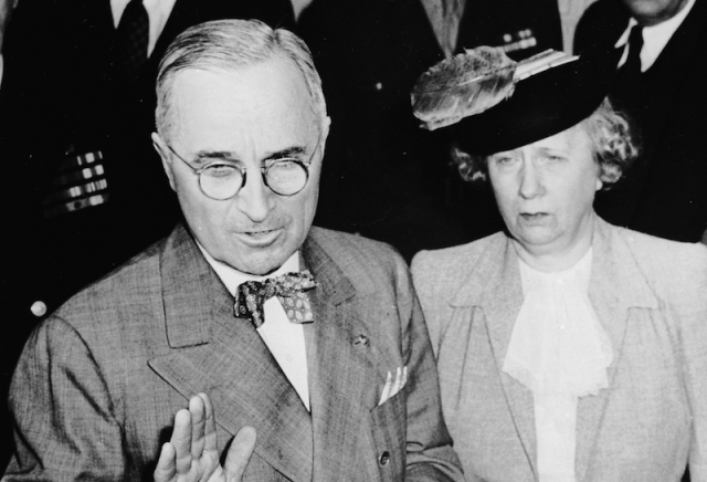 Harry S. Truman and Bess Truman standing closely together.