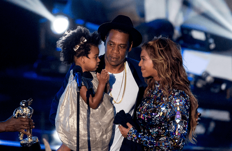 Blue Ivy, Jay-Z. and Beyonce