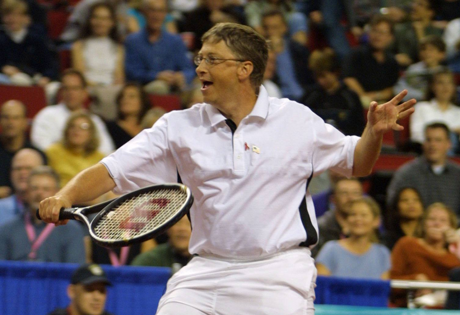 Bill Gates playing tennis