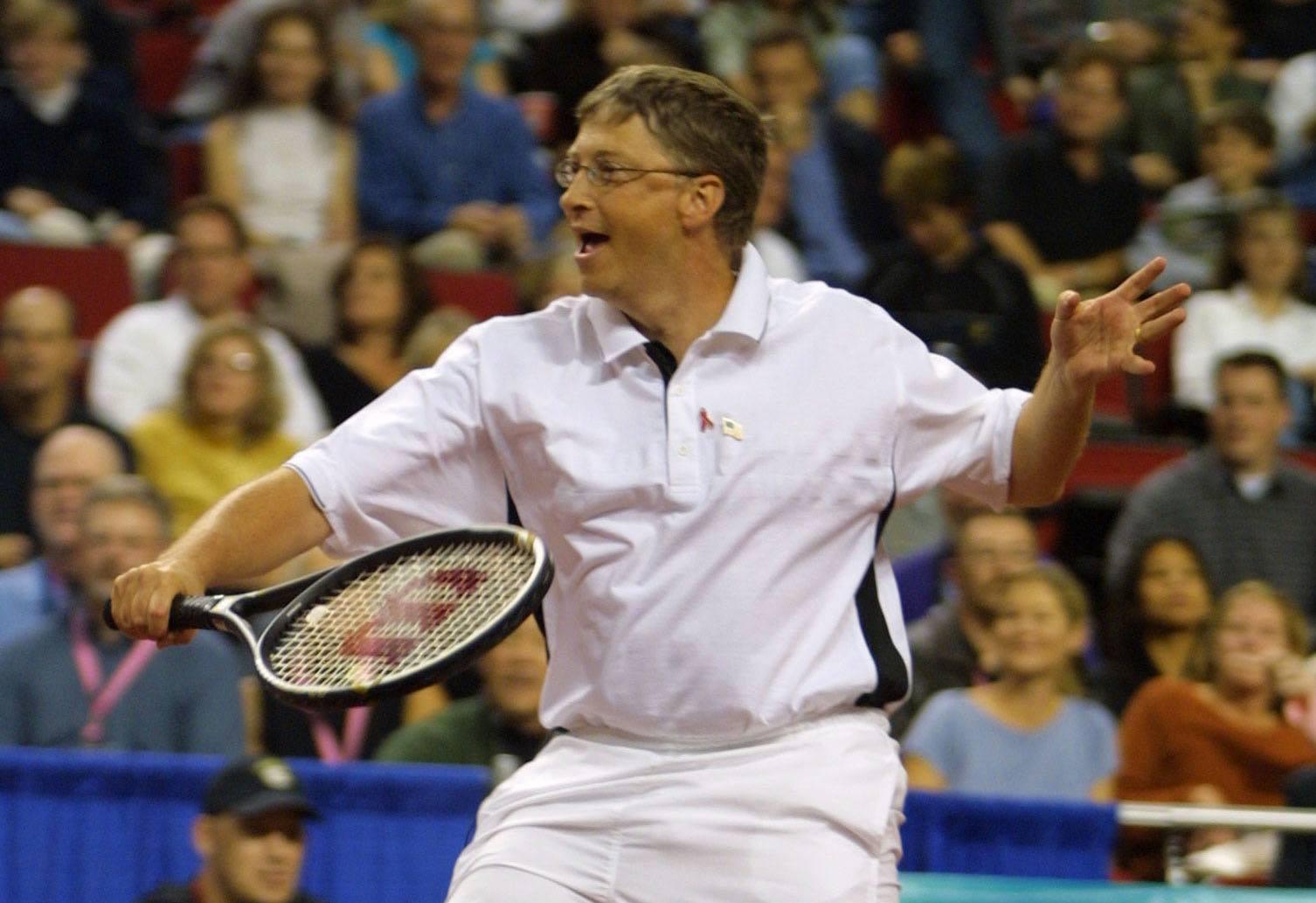 Bill Gates playing tennis