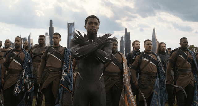 Black Panther standing with his army.