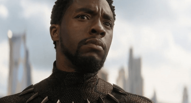 The Black Panther looking concerned as he stares straight ahead.