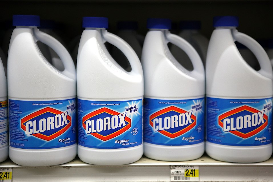 Bottles of Clorox bleach