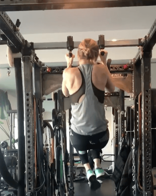Brie Larson at the gym.