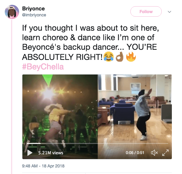 A tweet from Briyonce showing off her dance moves
